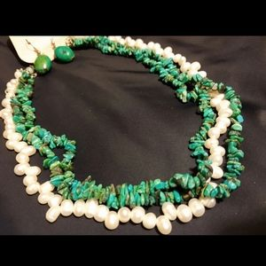 Jewelry - GENUINE TURQUOISE AND PEARLS NECKLACE